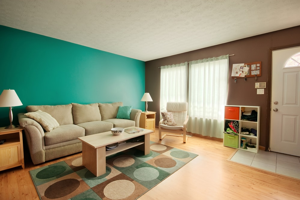 brown and teal living room color style